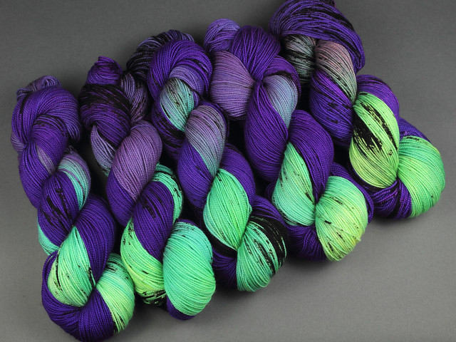 Favourite Sock – hand-dyed superwash merino wool yarn 4 ply/fingering 100g – 'Badass' (neon purple, green, black)
