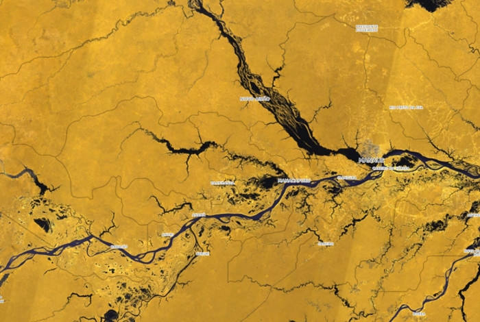 An image from a Landsat satellite of Brazil, where the Amazon flows into the Rio Negro and Solimoes River.