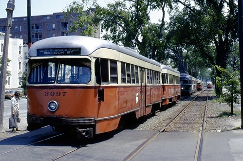 MBTA PCC 3097 & trains BeaconSt Near Strathmore Rd BrooklineMA 6-9-1973 | by ironmike9