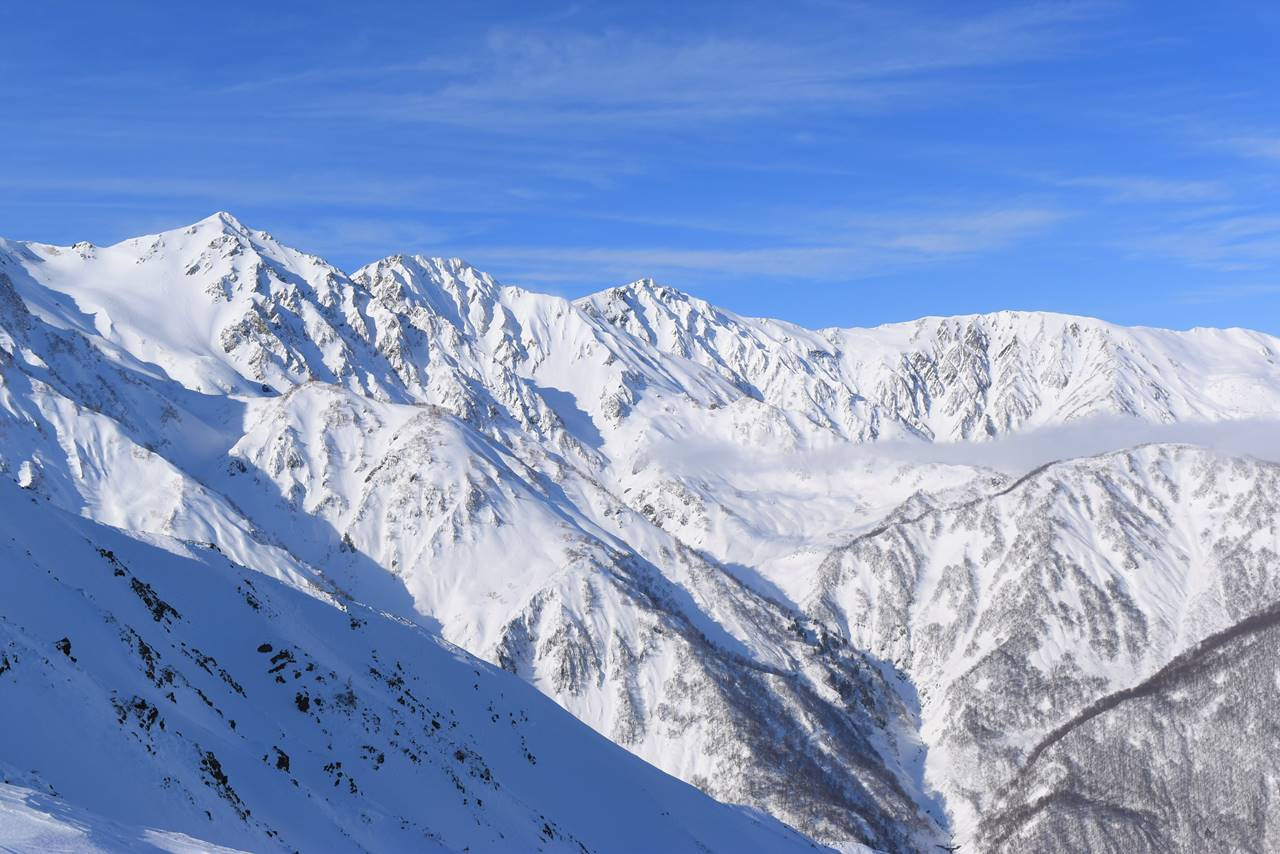 冬の北アルプス・唐松岳登山 八方尾根からの白馬岳