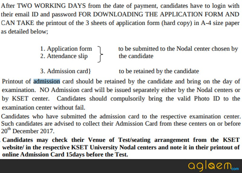 KSET Admit Card 2017   Get Here