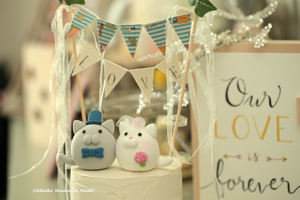 Lovely kitty and Cat with cake banner wedding cake topper,…   Flickr