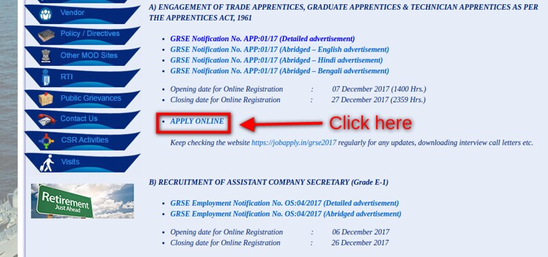 GRSE Recruitment 2018   Garden Reach Shipbuilders & Engineers