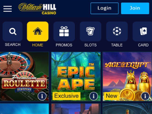 William Hill Mobile Casino Lobby