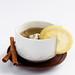 Healthy fruit tea with lemon and cinnamon