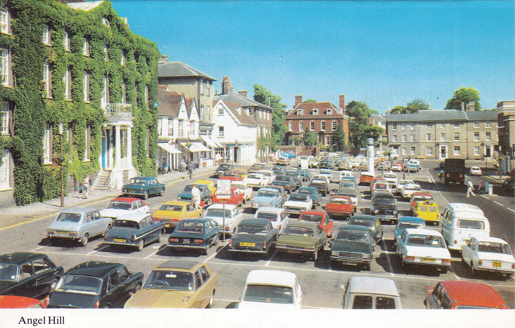 angel hill bury st edmunds suffolk old postcard mid 1970. Black Bedroom Furniture Sets. Home Design Ideas