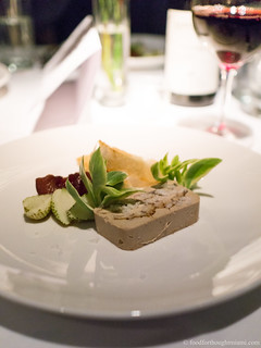 terrine of foie gras and eel, confit plum, green strawberries, white bread | by frodnesor