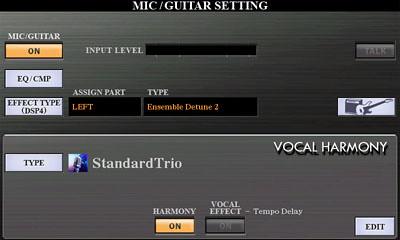 PSR-S970 Guitar/Amp button below Talk button (see pg 89