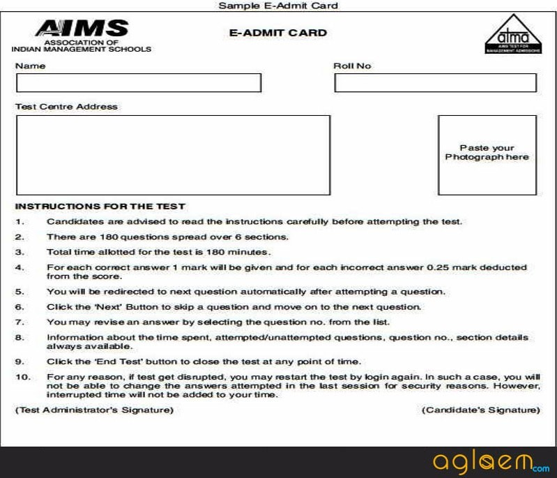 Sample of ATMA Admit Card 2018