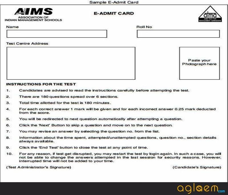 Sample of ATMA Admit Card 2018