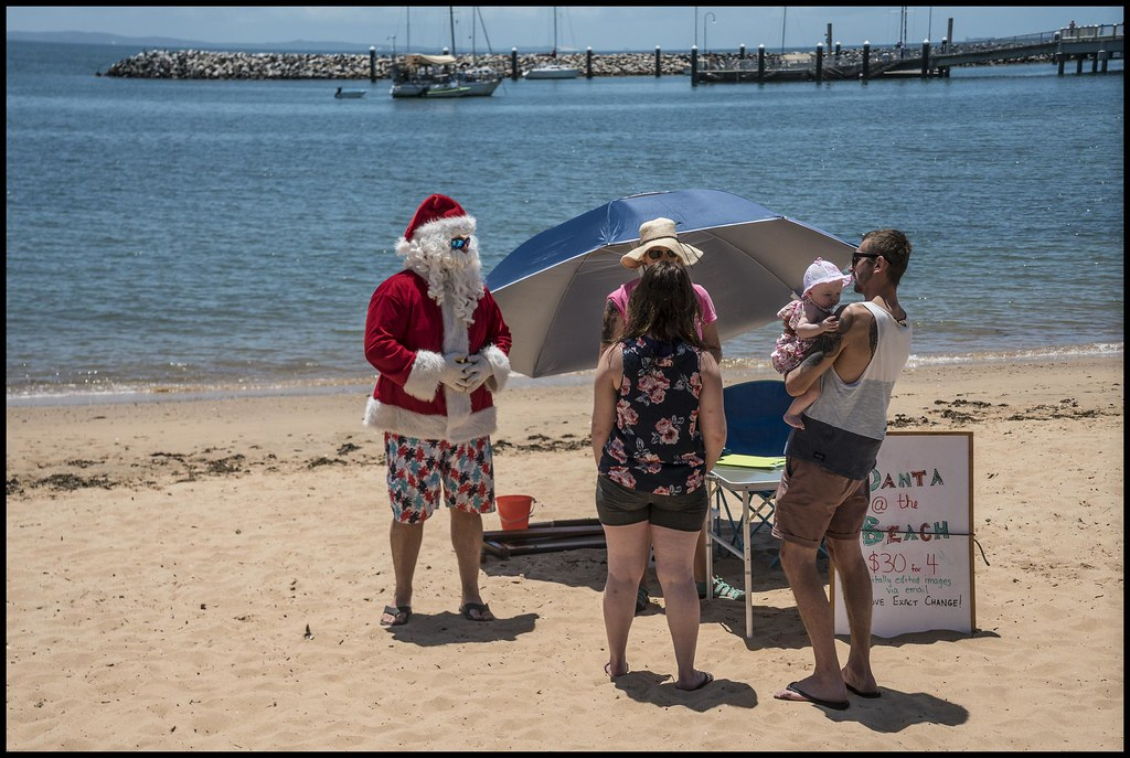 Image result for santa claus in the beach