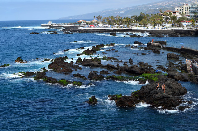 Puerto de la Cruz, nestling on the north coastline at the foot of the La Orotava valley