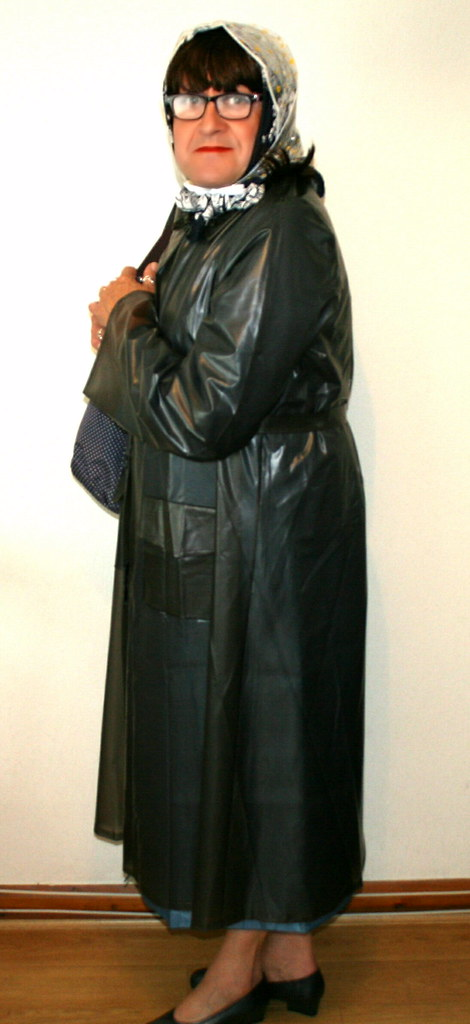 dd8b0bb11c ... Black Plastic Mac worn over a Blue Nylon Mac
