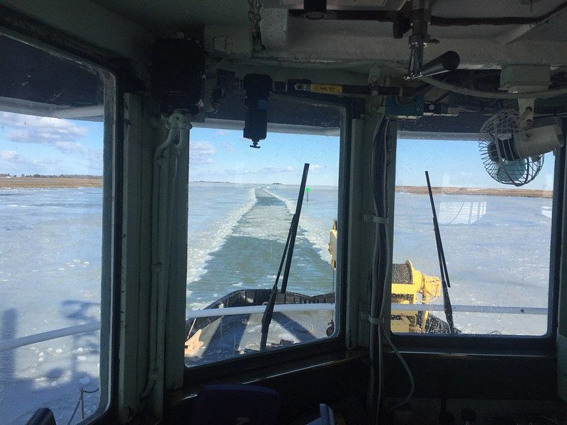 Photo of ice-breaking from inside cabin