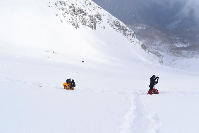 冬の焼岳 雪の斜面