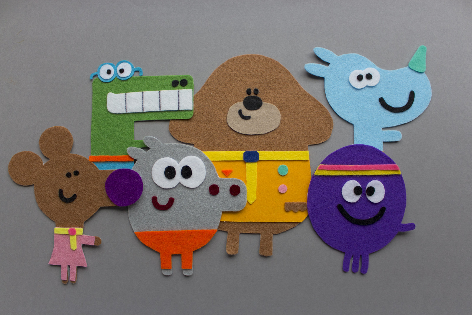Hey Duggee felt characters for banner