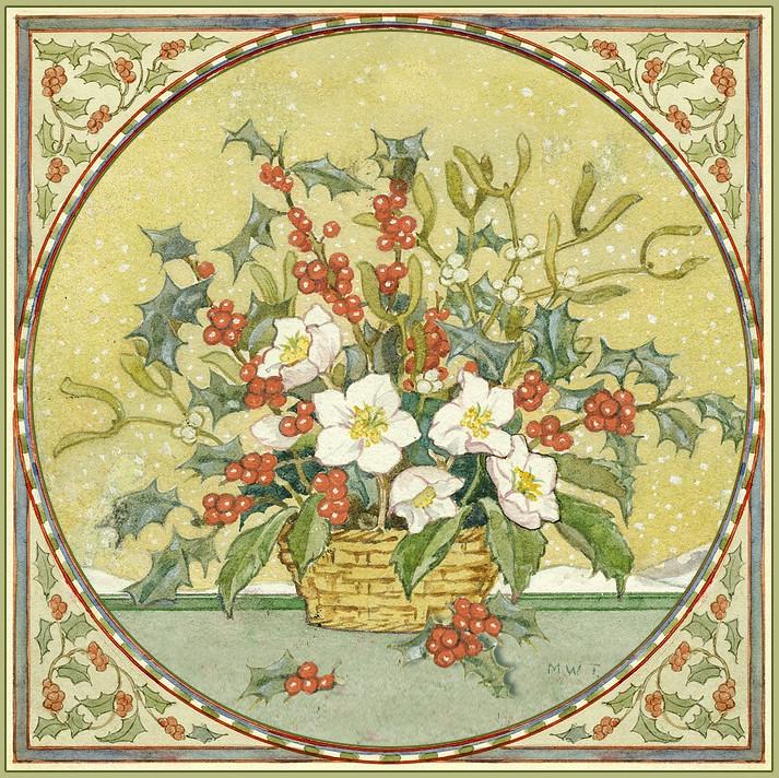 """Margaret W. Tarrant """"Christmas Card- Christmas Posy"""" C.192"""