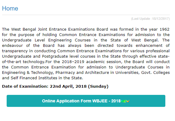 WBJEE 2018 Application Form Released at wbjeeb.nic.in on 19 Dec; Apply before 19 Jan