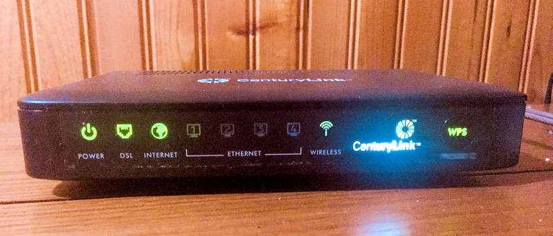 Today's photo: Modem – January 7, 2018. A low light photo of our modem taken with my iPhone.