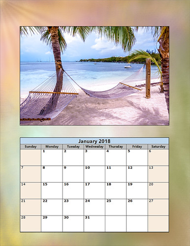 2018 January Calendar showing Great Guana Cay in the Bahamas