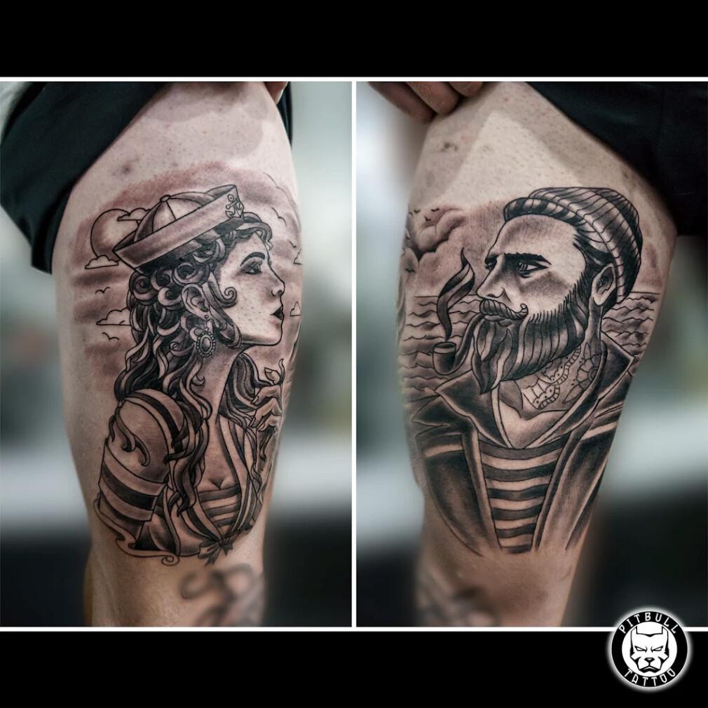 Old School Black Grey Tattoo Pitbull Tattoo Thailand B Flickr