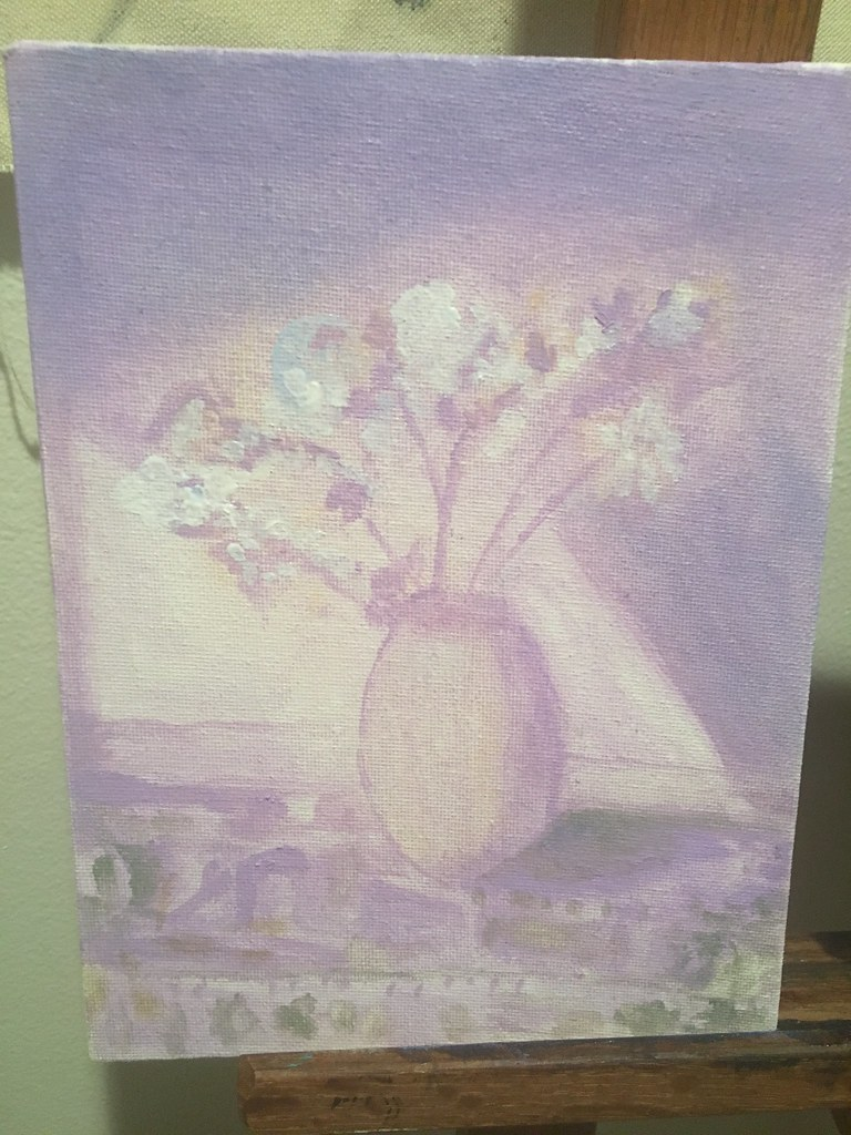 work in progress oil painting study lavender floral statice flower