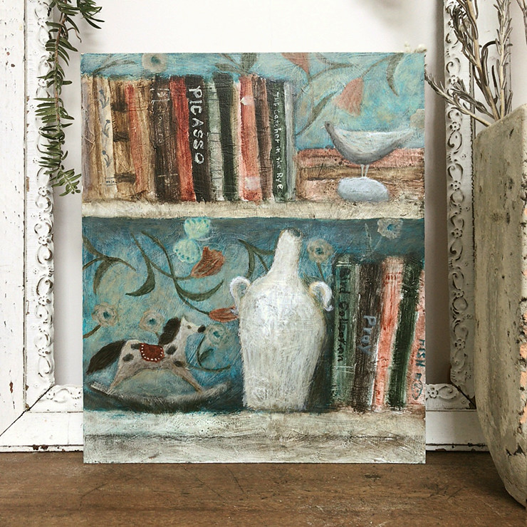 Acrylic Original Painting Bookshelf With Bird And Horse On Wooden Panel