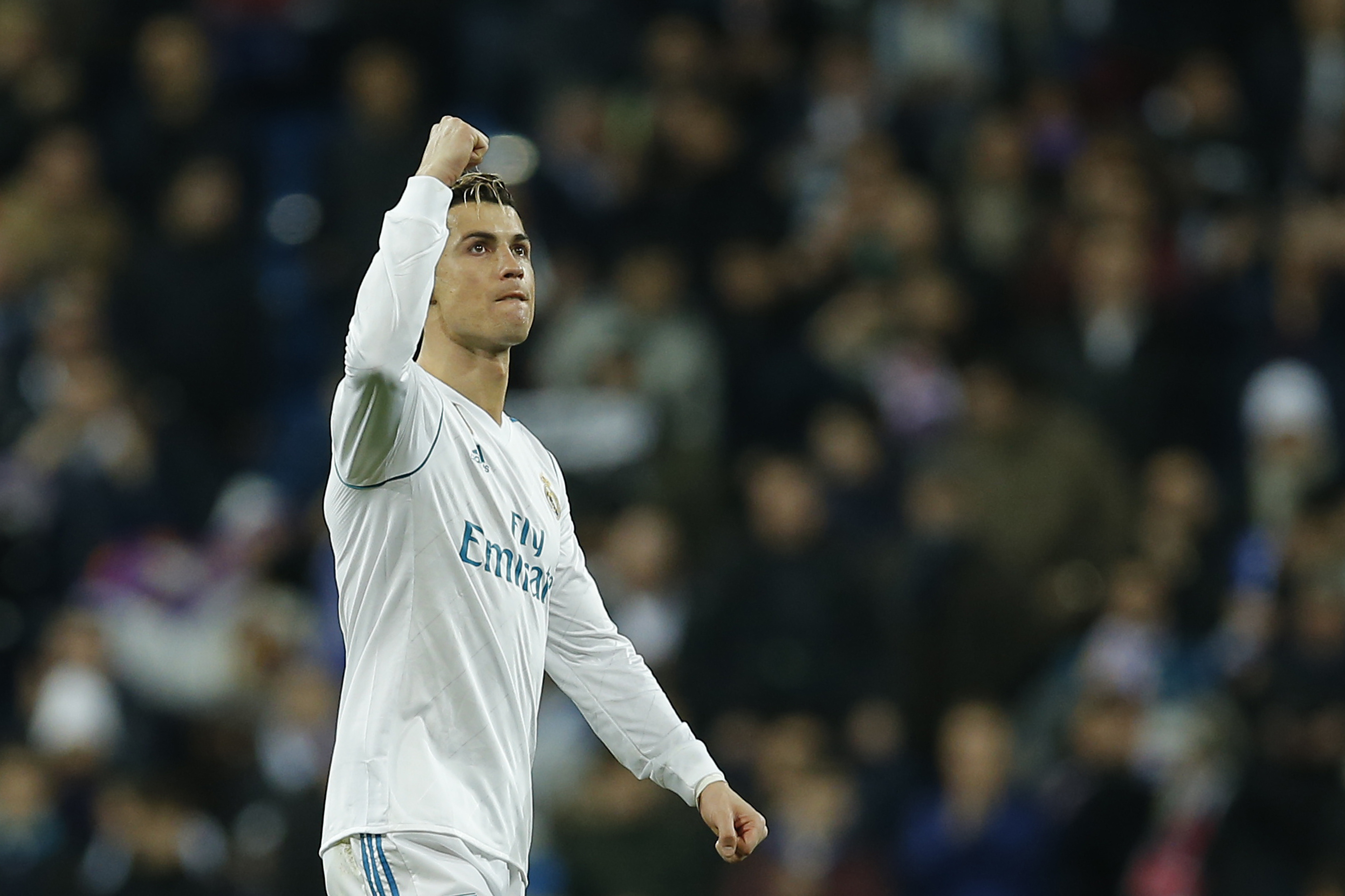 Cristiano Ronaldo攻進2球帶領皇馬奪勝,自己也創下歐冠歷史。(達志影像)