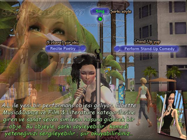 The Sims 2 Apartment Life Apartman Hayatı Stand-up Comedy Recite Poetry Sing Performance Microphone Mikrofon Şov Gösteri Şarkı
