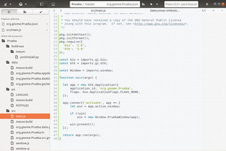 JavaScript-en-GNOME-Builder