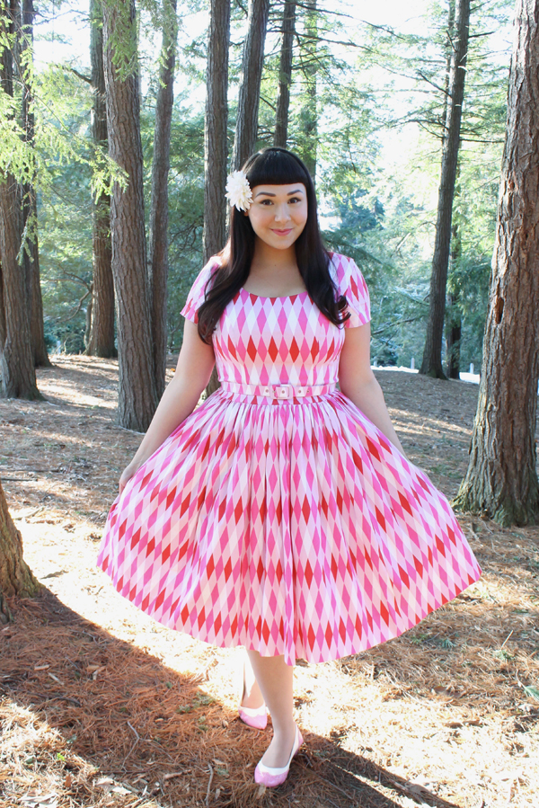 pinup girl clothing pink harlequin dress