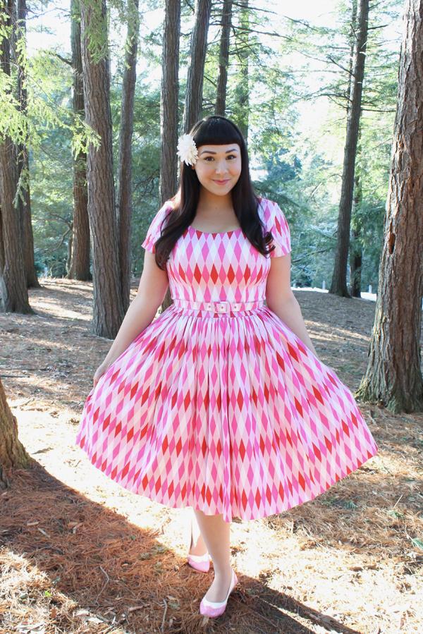 pinup girl clothing pink harlequin dress