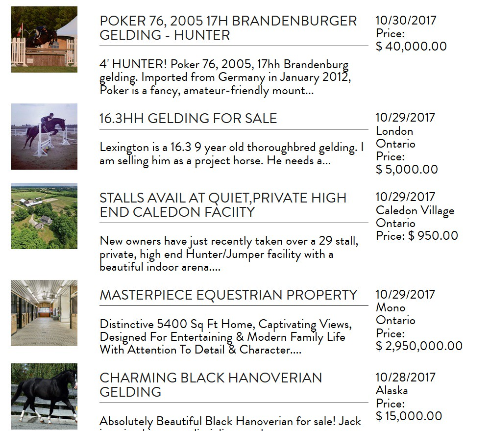 horses for sale in Horse Canada magazine