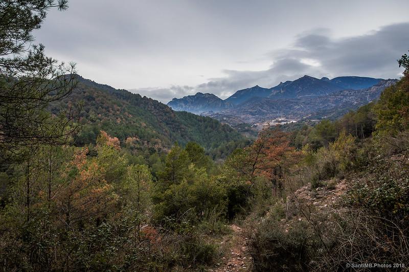 Serra de Queralt desde el sendero del Molí de Pedret a la Via Verde