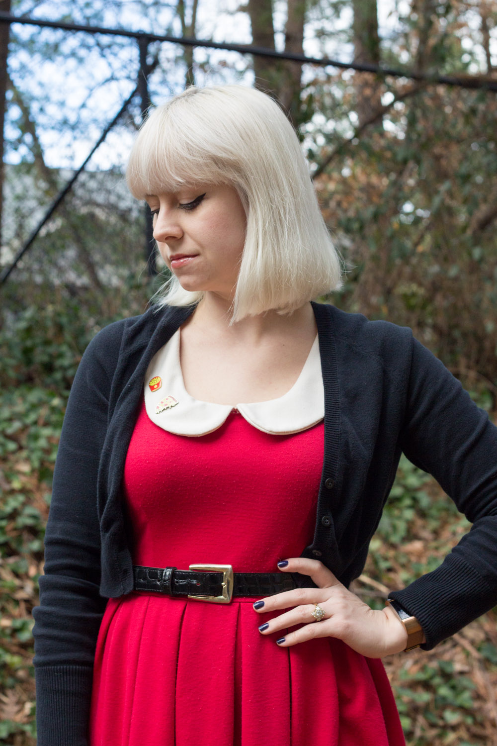 Red Peter Pan Collar Dress with Quirky Pins and a Cropped Cardi