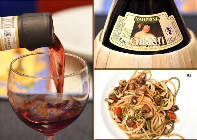 Bunte Spaghetti - das Auge isst mit - mit Spinat und Tomaten gefärbt - Tomaten-Champignon-Sugo - Chianti ... Foto: Brigitte Stolle