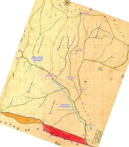 Cadastre Napoléon Feuille Conca A2 avec la région du Carciara et du Peralzone. Le chemin d'exploitation aval (HR2) est marqué jusqu'à la brèche (Stretta della Carcia). Rien sur le chemin amont (HR2bis).