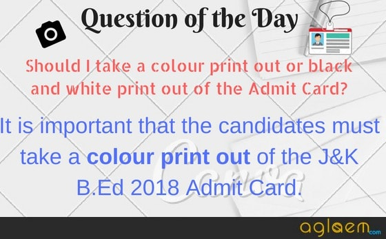 Jammu & Kashmir B.Ed Admit Card 2018 Available  Download Here