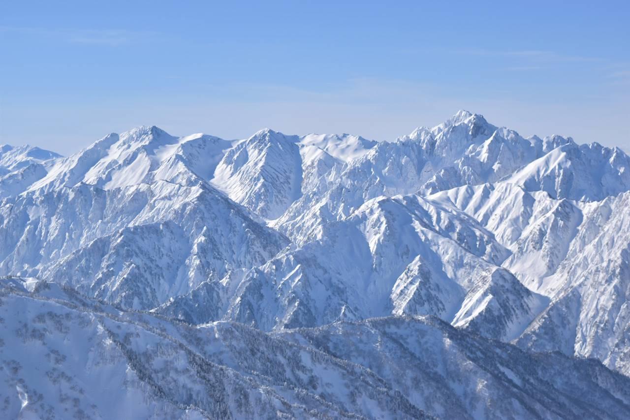 唐松岳山頂から眺める雪の剱岳~立山連峰
