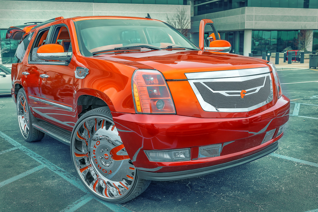 candy orange cadillac escalade donk c c of the upstate flickr