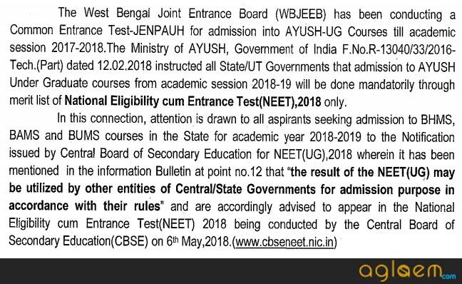 WBJEEB JENPAUH 2018   Exam Date, Syllabus, Question Paper