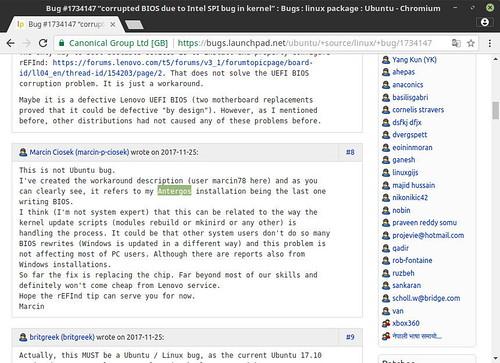 Presunto-usuario-de-Antergos-reportando-que-la-BIOS-de-su-portátil-ha-acabado-corrupta-por-el-problema-que-afectaba-a-Ubuntu-17.10