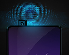 To avoid taking up space on the front surface of the phone, the APEX features an 8-megapixel Elevating Front Camera which pops up in 0.8 seconds to take pictures and retracts after use.