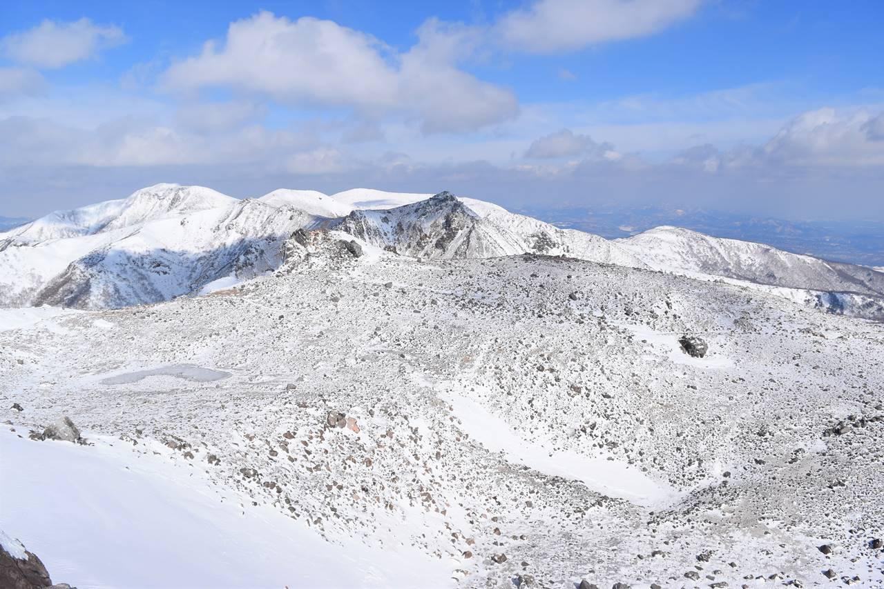 冬の那須岳・茶臼岳山頂からの展望