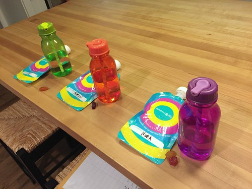 water bottles and snacks