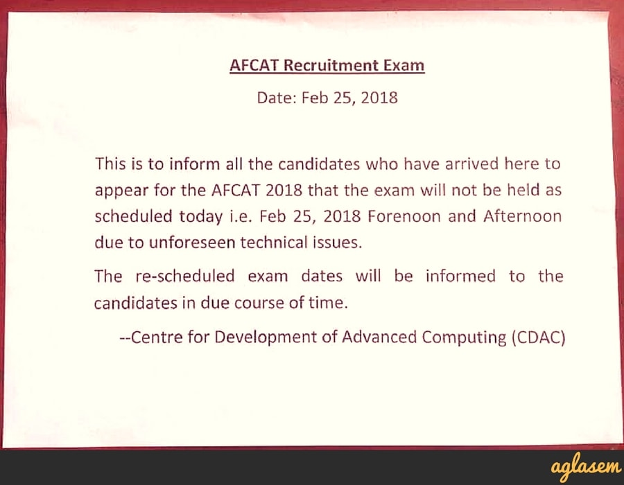 AFCAT 2018 Exam Cancelled at Many Centers on 25th Feb