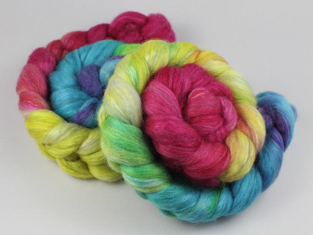Lustre Blend fine British wool, merino, silk combed top/roving hand-dyed spinning fibre 120g 'Lollipop' (bright rainbow gradient)