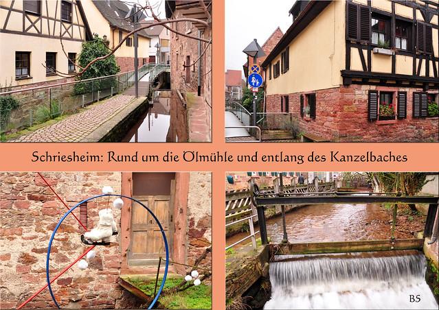 Nebel am frühen Morgen bis zum späten Nachmittag. Bilder von einem Rundgang um die Ölmühle in Schriesheim und entlang des Kanzelbaches. Die Ölmühle wurde im Jahr 1623 erstmals erwähnt, man vermutet allerdings, dass sie noch älter ist. Es ist die letzte noch erhaltene von 12 Mühlen, die sich einst im Schriesheimer Tal befanden.