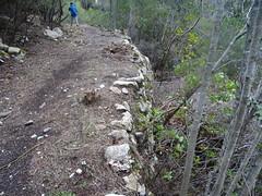 Le Chemin d'exploitation du Carciara en RG de la Figa Bona : en revenant vers le départ du chemin avec vue des soutènements