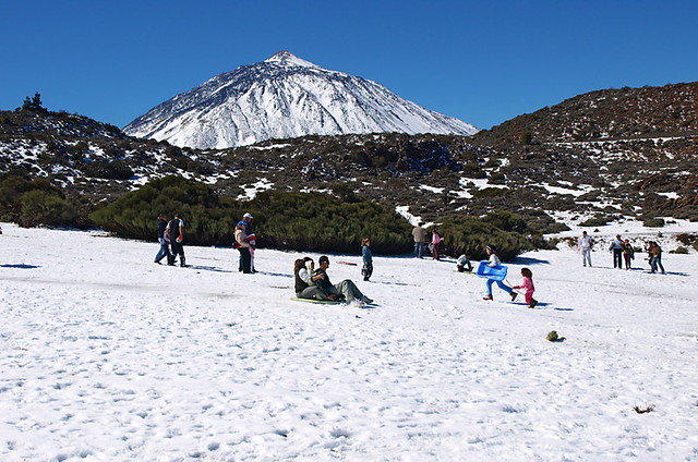 Snow on Mount Teide, Teide National Park, Tenerife